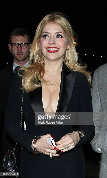 Holly Willoughby at the Warner Music in association with Vanity Fair BRITs aftershow party at The Savoy Hotel on February 20 2013 in London England