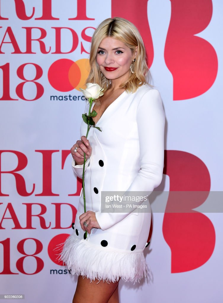 Holly Willoughby attending the Brit Awards at the O2 Arena, London.