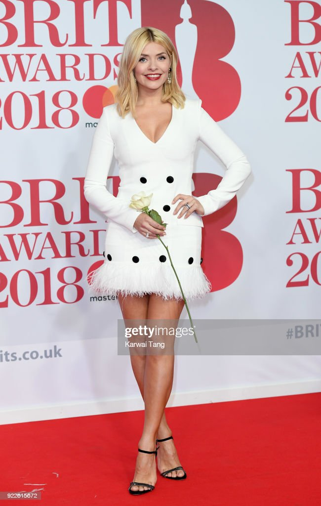 Holly Willoughby attends The BRIT Awards 2018 held at The O2 Arena on February 21, 2018 in London, England.