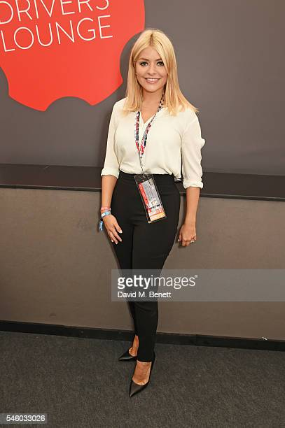 Holly Willoughby attends the British Grand Prix in the Driver Lounge at Silverstone on July 10 2016 in Northampton England