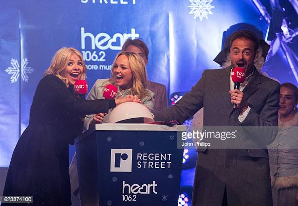Holly Willoughby Emma Bunton Jamie Theakston and Tom Odell switch on the Regent Street Christmas lights on November 17 2016 in London United Kingdom