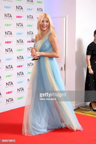 Holly Willoughby from This Morning poses in the press room with the award for Daytime programme at the National Television Awards 2018 at The O2...