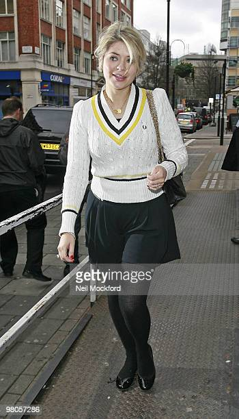 Holly Willoughby is sighted leaving BBC Radio One on March 26 2010 in London England