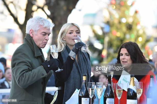 Holly Willoughby Phillip Schofield filming the This Morning Show on December 15 2017 in London England