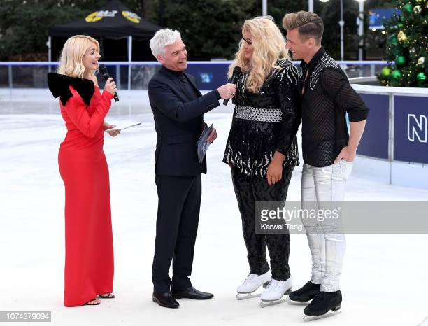 Holly Willoughby Phillip Schofield Gemma Collins and Matt Evers attend a photocall for the new series of Dancing On Ice at Natural History Museum Ice...