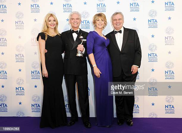 Holly Willoughby Phillip Schofield Ruth Langsford and Eamonn Holmes winners of Daytime award pose in the Winners room at the National Television...