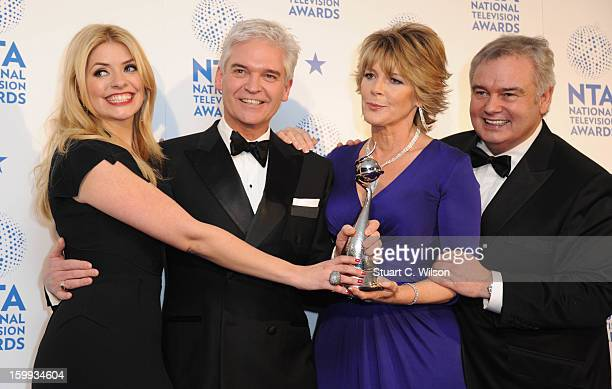 Holly Willoughby Phillip Schofield Ruth Langsford and Eamonn Holmes pose in the Winners room at the National Television Awards at 02 Arena on January...