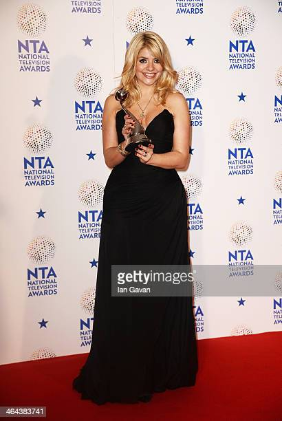 Holly Willoughby poses after winning the Best Daytime award for This Morning during the National Television Awards at 02 Arena on January 22 2014 in...