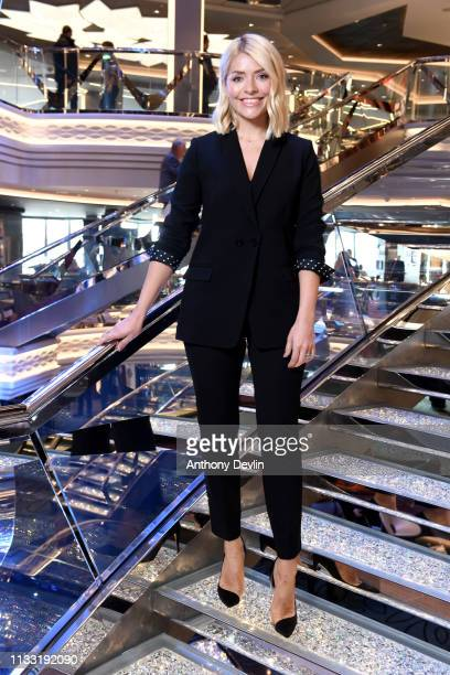 Holly Willoughby poses on board MSC Bellissima at her Naming Ceremony on March 02 2019 in Southampton England