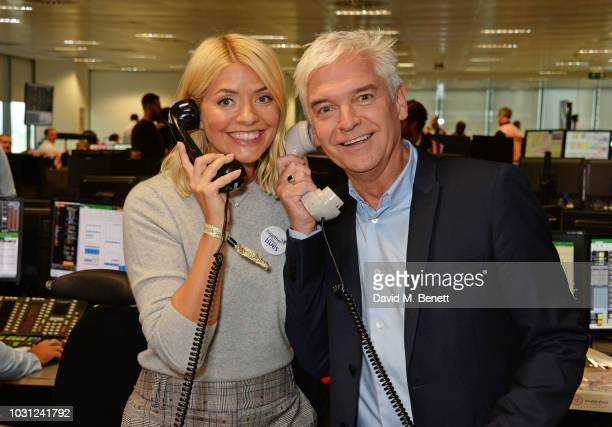 Holly Willoughby representing Together For Short Lives and Phillip Schofield representing Orchid attend BGC Charity Day at One Churchill Place on...
