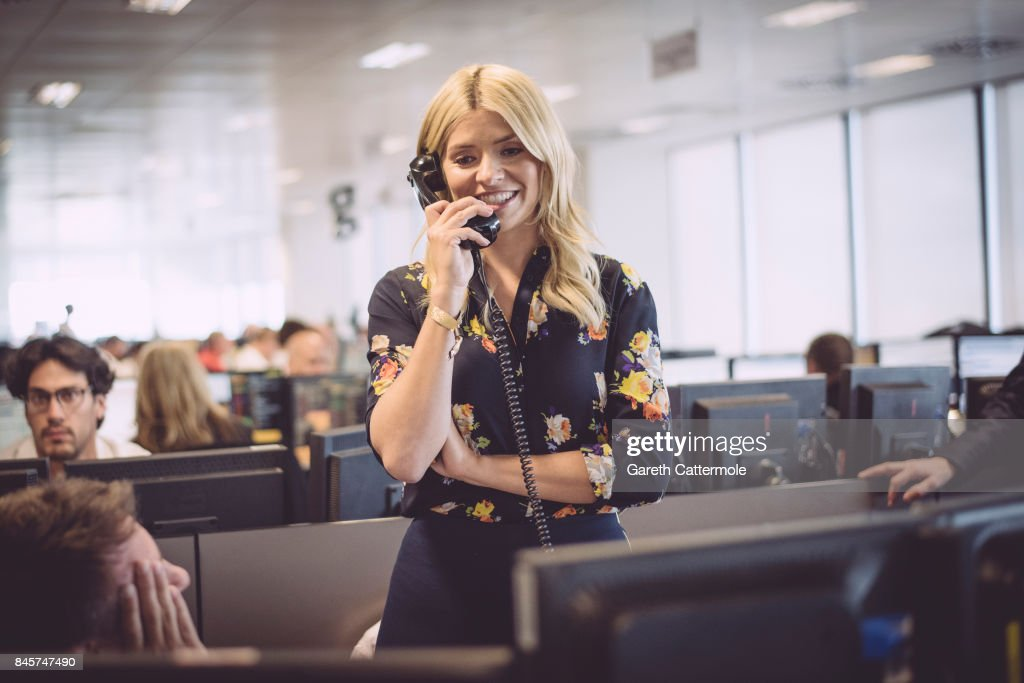 Holly Willoughby, representing Together For Short Lives, makes a trade at BGC Charity Day on September 11, 2017 in Canary Wharf, London, United Kingdom.