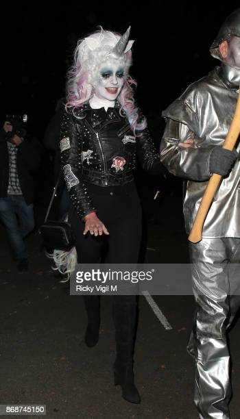 Holly Willoughby seen attending Jonathan Ross Halloween party on October 31 2017 in London England