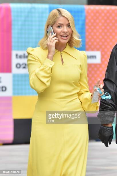 Holly Willoughby seen filming for 'This Morning' at the ITV Studios with the Red Devils the Parachute Regiments display team for the shows 30th...