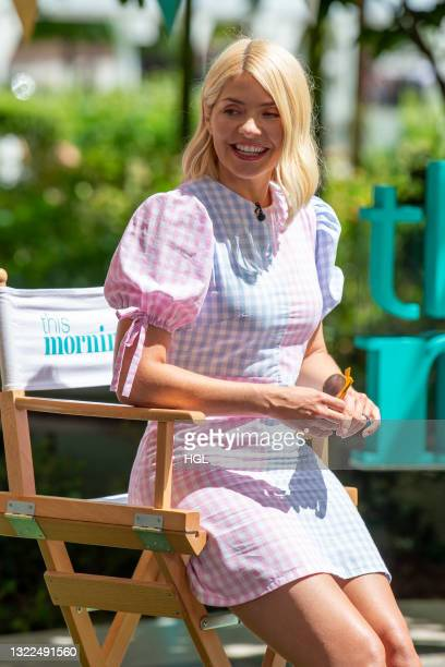 Holly Willoughby seen filming the ITV This Morning show on June 08, 2021 in London, England.
