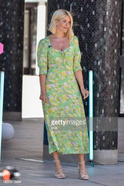 Holly Willoughby seen filming the This Morning show on June 09, 2021 in London, England.