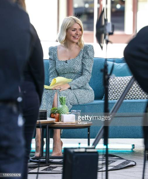 """Holly Willoughby seen filming """"This Morning"""" on March 30, 2021 in London, England."""