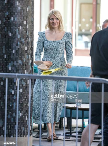 "Holly Willoughby seen filming ""This Morning"" on March 30, 2021 in London, England."