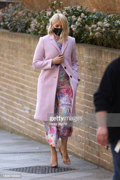 Holly Willoughby seen filming This Morning outside on March 29, 2021 in London, England.