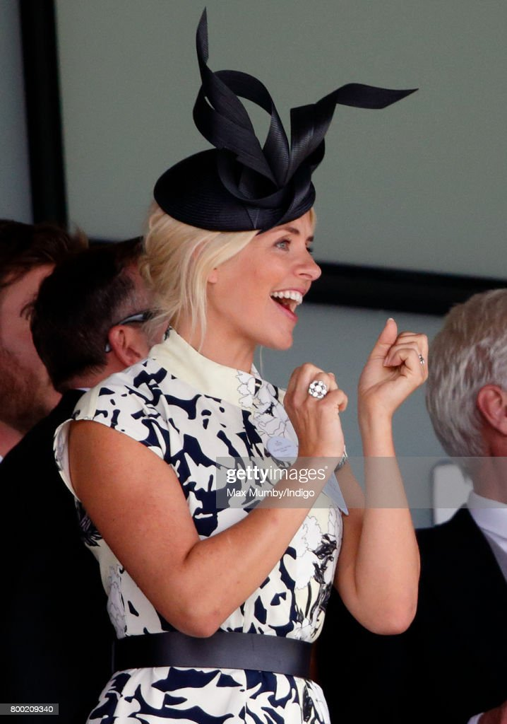 Holly Willoughby watches the racing as she attends day 4 of Royal Ascot at Ascot Racecourse on June 23, 2017 in Ascot, England.