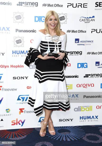 Holly Willoughby with the awards for TV Personality of the Year Daytime Programme and Satellite/Digital Programme during the TRIC Awards 2017 at the...