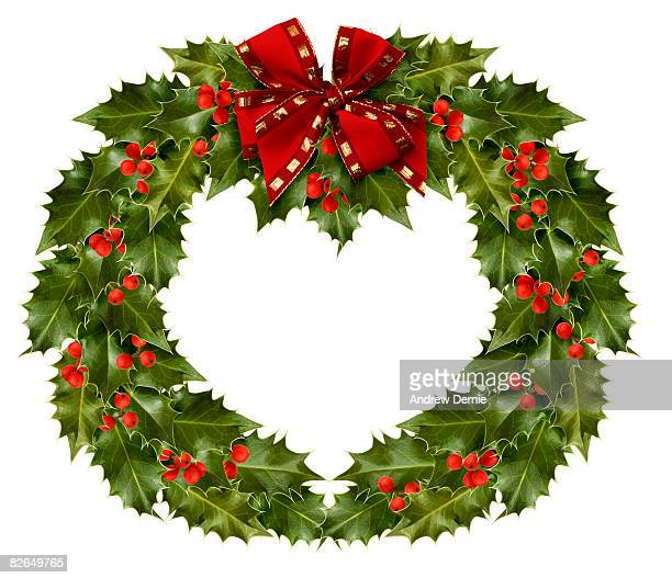holly wreath  - andrew dernie stock pictures, royalty-free photos & images