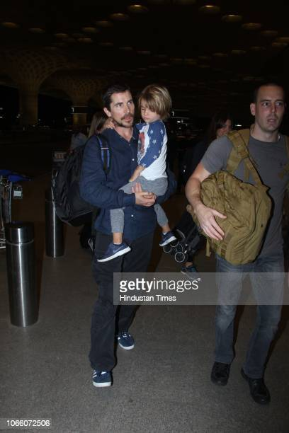Hollywood actor Christian Bale seen at the airport with his son Joseph on November 26 2018 in Mumbai India