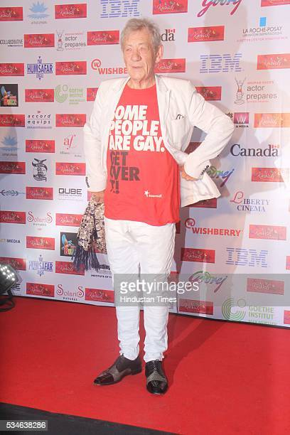Hollywood actor Ian McKellen during an opening ceremony of the 7th Kashish Mumbai International Queer Film Festival, at Liberty Cinema, Marine Lines,...