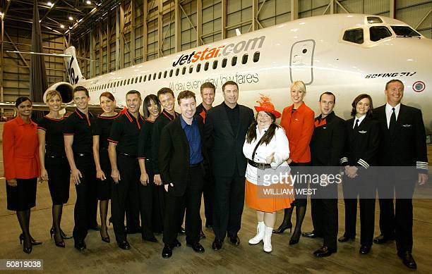 Hollywood actor John Travolta launches Australia's newest budget airline Jetstar with the help of comedian Magda Szubanski Jetstar CEO Alan Joyce and...