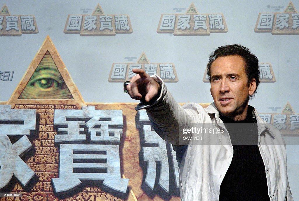 Hollywood actor Nicolas Cage gestures du : Nieuwsfoto's