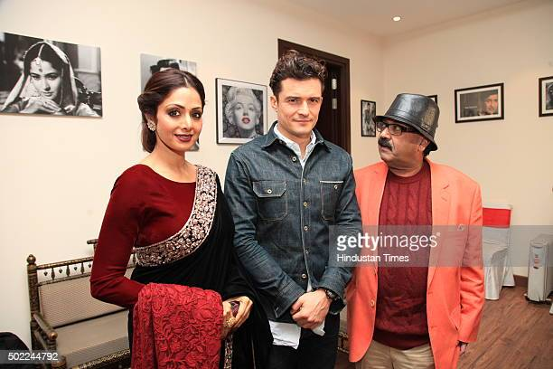 Hollywood actor Orlando Bloom with Bollywood actress Sridevi during the party hosted by politician Amar Singh at DLF Chhattarpur Farms on December 20...