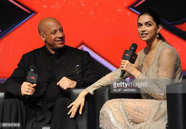 Hollywood actor, producer, director and screenwriter, Vin Diesel and Indian Bollywood actress Deepika Padukone pose during a press conference for the...