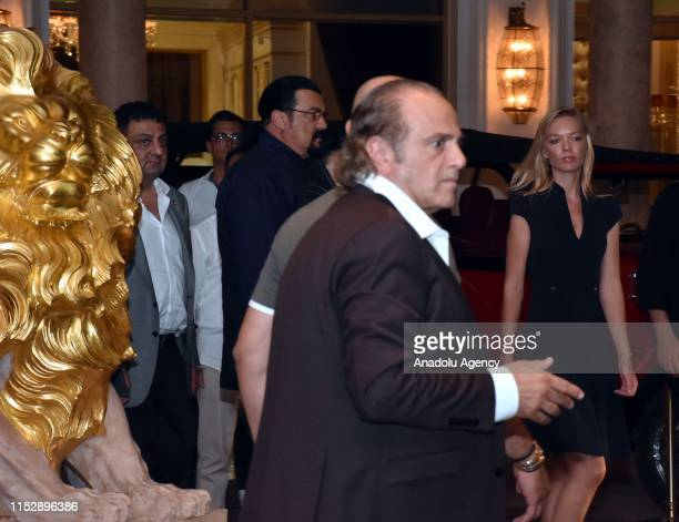 Hollywood actor Steven Seagal and his wife Erdenetuya Seagal arrive at a private villa on an invitation from Turkish American Business Association -...
