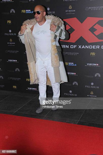 Hollywood actor Vin Diesel at the red carpet of premier of 'xXx Return of Xander Cage' movie on January 12 2017 in Mumbai India 'xXx Return of Xander...