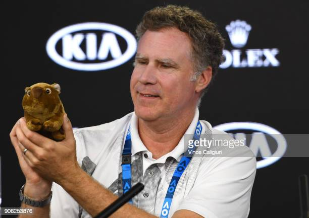 Hollywood actor Will Ferrell holding a toy wombat during a press conference with Jim Courier during day four of the 2018 Australian Open at Melbourne...