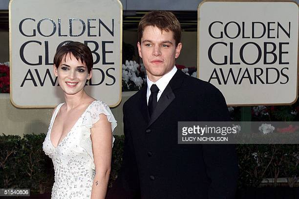 Hollywood actors Matt Damon and Wynona Rider arrive at the 57th Golden Globes in Beverly Hills CA 23 January 2000 AFP PHOTO Lucy NICHOLSON