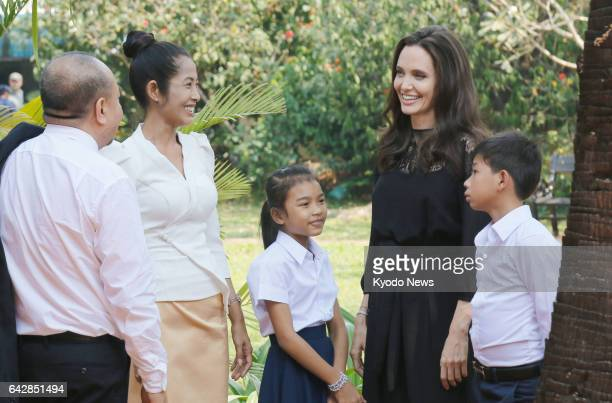 Hollywood actress and director Angelina Jolie attends the premier of her new film about the Khmer Rouge 'First They Killed My Father' at the Angkor...