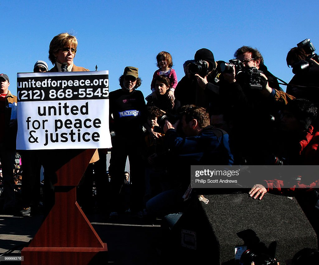 Hollywood actress and one of the leaders on the anti-vietnam movement Jane Fonda speaks in opposition to the Iraq war. Fonda has not appeared at an anti-war rally in over 34 years