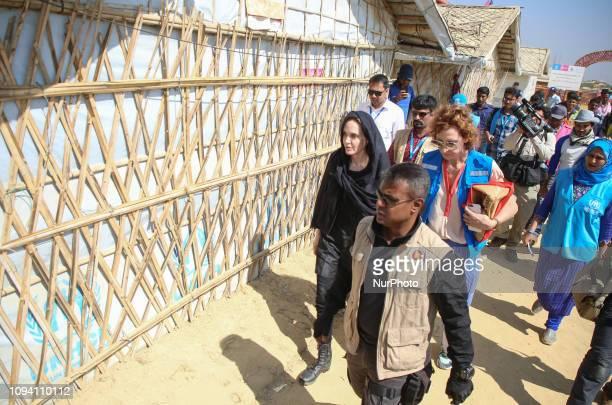 Hollywood actress Angelina Jolie returns after visiting a school at Kutupalong refugee camp in Cox's Bazar Bangladesh Tuesday Feb 5 2019 Hollywood...
