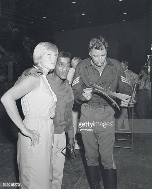 Actress May Britt visits her husband Sammy Davis Jr at MGM on the set of Soldiers 3 on her first day out since the birth of the couples' daughter...