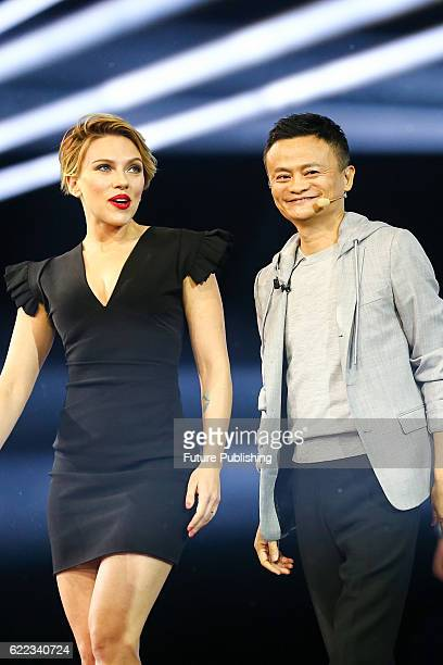 Hollywood actress Scarlett Johansson left and Jack Ma Chairman of Alibaba Group right attend a night gala is to celebrate the Singles Day online...
