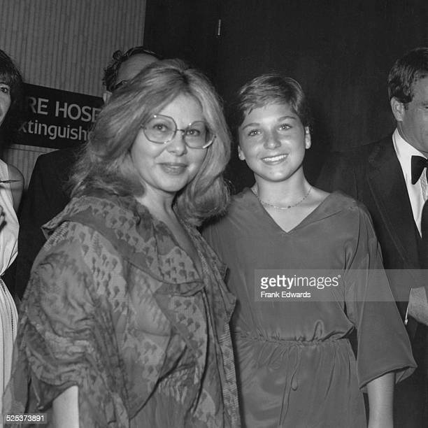 Hollywood agent Sue Mengers with American actress Tatum O'Neal at the NATO Awards at the Disneyland Hotel in Anaheim California USA October 1976