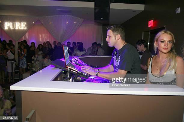LAS VEGAS NEVADA JULY 14 DJ Hollywood and Lindsay Lohan attend Saturday Evening at PURE Nightclub on July 14 2007 in Las Vegas Nevada