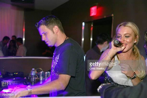 LAS VEGAS JULY 13 DJ Hollywood and Lindsay Lohan attend Saturday Evening at PURE Nightclub on July 14 2007 in Las Vegas Nevada