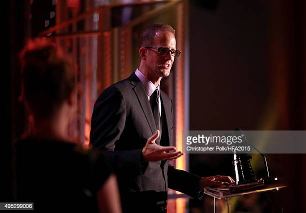 Hollywood Animation Award honoree Pete Doctor speaks onstage during the 19th Annual Hollywood Film Awards at The Beverly Hilton Hotel on November 1...
