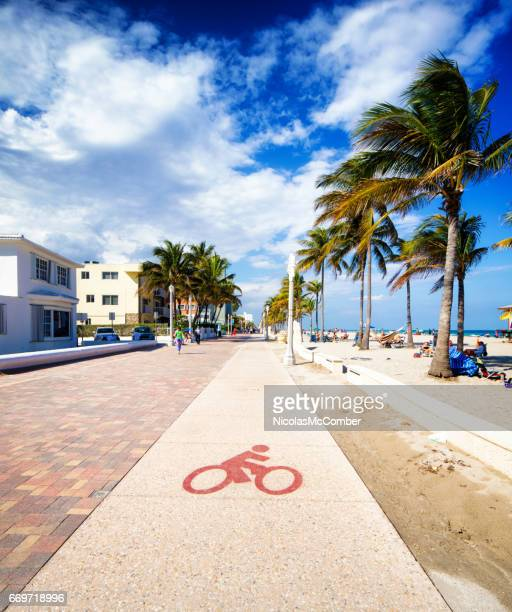 Hollywood beach Florida boardwalk bicycle lane sunny Winter day