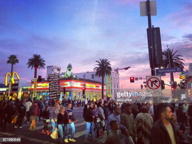 hollywood boulevard at night full of tourists, los angeles, california, usa - hollywood california stock photos and pictures
