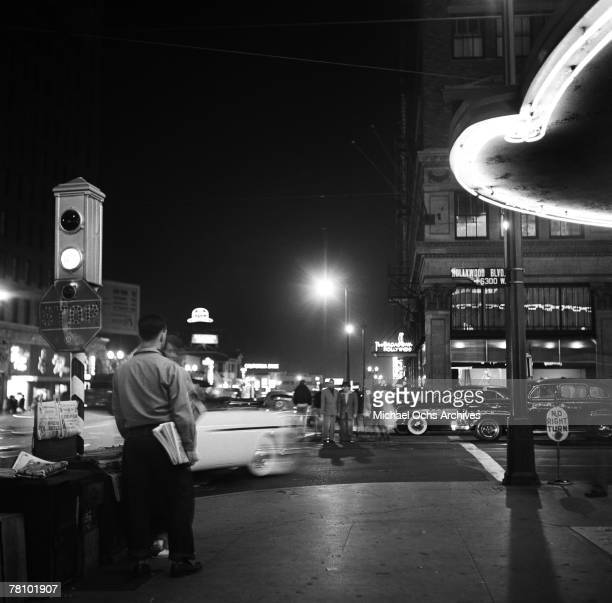 Hollywood Boulevard at night on June 7 1951 in Los Angeles California