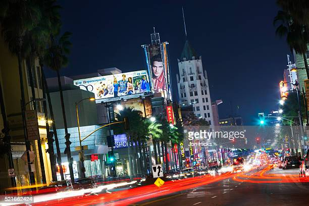 hollywood boulevard at night. - hollywood boulevard stock pictures, royalty-free photos & images