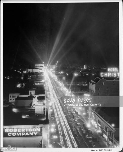 Hollywood Boulevard east from Highland at night Robertson Company Citizens National Bank Los Angeles California early to mid twentieth century