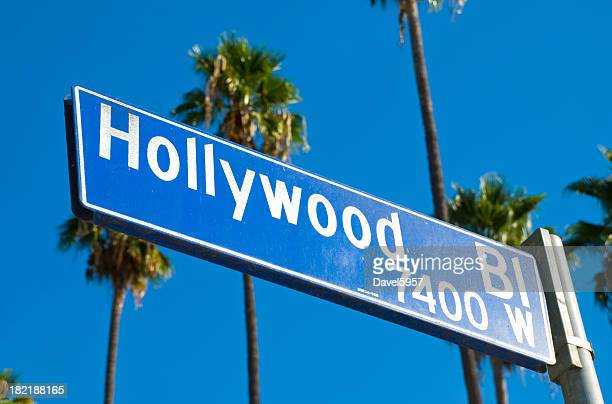 hollywood boulevard sign and palm trees - boulevard stock pictures, royalty-free photos & images